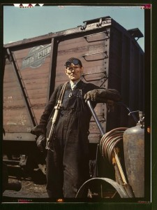 Mike Evans, a welder, at the rip tracks at Proviso yard of the C & NW RR, Chicago, Ill. April 1943